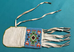 Vintage Native American Hand Made Beaded Pouch Bag With Cones