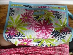 Modella clear vinyl with multi color flowers cosmetic makeup bag $25.00