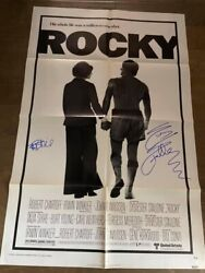 1976 Original Rocky Signed Movie Poster Sylvester Stallone And Talia Shire Opx