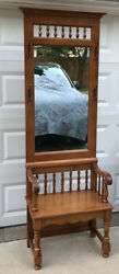 Vintage Maple Tell City Chair Company Hall Seat / Tree / Bench 8627 With Mirror