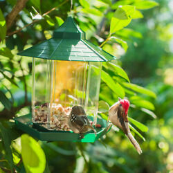 Pavilion Clear Glass Window Viewing Bird Feed Hotel Table Seed-peanut Hanging