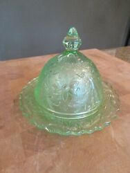 Antique Green Glass Rare Round Covered Butter Dish Excellent Condition