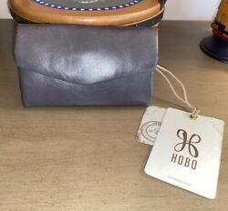 NWT HOBO BAGS Lacy graphite grey leather trifold clutch wallet $68 $39.99