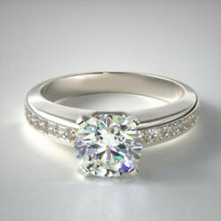 0.96 Carat Diamond Wedding Sterling Silver Rings White Gold Over Size 5 6.5 8 9