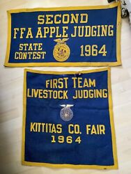 Vintage Large State County Fair Felt Banners, 1964 Judging Livestock, Apples, Wa