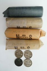 648 Us Nickels 16.2 Rolls 1940and039s Mostly Vg F Vf Condition 5c 9 Silver Rolls