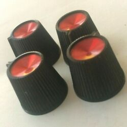 Four Vintage Ruby Red Sunn Beta Bass Amplifier Pointer Knobs, Amp
