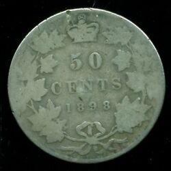 1898 Canada Queen Victoria V Sterling Silver Fifty Cent Piece F255