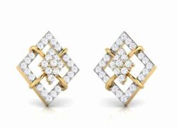 1.16ct Natural Round Diamond 14k Solid Yellow Gold Stud Screw Back Earring