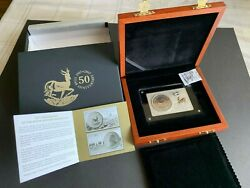 2017 South Africa 3 Oz Silver 50th Anniversary Krugerrand Coin And Bar Set W/box