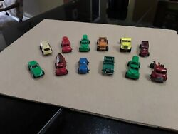 Vintage Diecast Small Cars And Trucks. 12 Pcs. Collectible Old Toys.