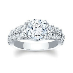 1.54 Ct Rond Certifiandeacute Moissanite Fianandccedilailles Bague 14k Solid Blanc Or Taille 7.5