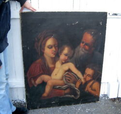 Antique Old Master Oil On Canvas Religious Virgin Mary Painting Madonna Holy