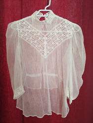 Rare Antique French Victorian White Cotton Net And Lace Blouse Size 34-36