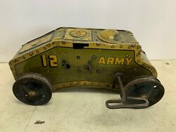 1940's Mar Tank Corps 12 Wind Up Tin Army Tank For Parts - Toy - Us Vintage