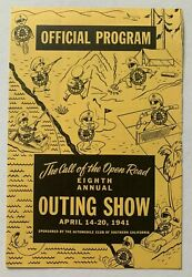 Vtg 1941 Official Program Automobile Club Southern California 8th Outing Show