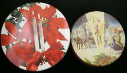 2 Vintage Metal Holiday Tins Deluxe Fruit Cake Collin Street Bakery And Candles