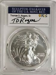 2019-w Burnished Silver Eagle Pcgs Sp70 First Day Of Issue Thomas Rogers Signed