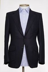 Tom Ford Navy Blue Cashmere Jacket With Suede Leather Elbow Eu 48 New Us 38