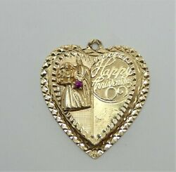 Vintage 14k Kitschy Heart Shaped Charm Happy Anniversary With Bride And Groom