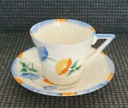🔶️ivory Empire Ware Geometric Art Deco Cup And Saucer Shelley Clarice Cliff