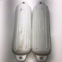 Attwood Marine Softside Oval Ribbed Fenders Bumpers Pair Boat 6 X 24 White