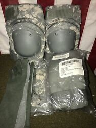 Elbow And Knee Pads Set Of 4 - Us Military Army Issue Acu Small W/pouch And Gloves