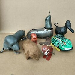 Vintage Tin Mohair Wind Up Toy Lot For Parts, Repair, Refurbish Duck Seal Bear