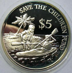 Singapore 1989 Save The Children 5 Dollars Silver Coinproof