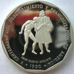 Dominican 1990 Discover Evangelization Pesos 1oz Silver Coinproof
