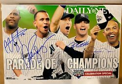 2009 Yankees Ws Champs Daily News Full Color And Size Photo Reprint Autographed