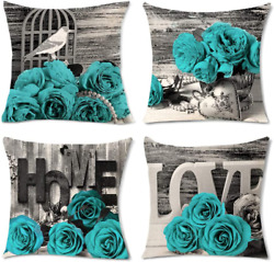 Set Of 4 Throw Pillow Covers For Couch Teal Pillows Turquoise Rose Cushion Cases