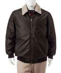 Orig. 200 Whispering Smith Big And Tall Faux Leather Aviator Jacket Size Lt New