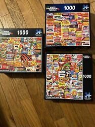 Lot 3 White Mountain 1000 Piece Puzzles-vintage Cereal Boxes,candy,games Played