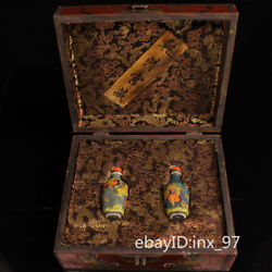 9.6 China Collection Old Colored Glaze Painted Snuff Bottle One Pair With Box