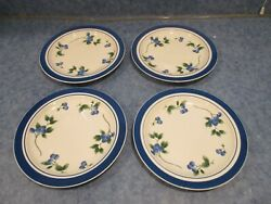 Lot Of 4 Ll Bean Blueberry Salad Plates Euc Discontinued