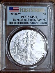 2008-w 1 Burnished Silver Eagle Pcgs Sp70 Rev '07 First Strike 🇺🇸 | Very Rare