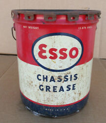 Vintage Esso Chassis Grease Motor Oil Can 35 Pound Gas Station