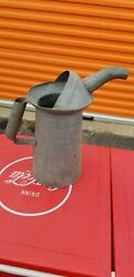 Antique Vintage Galvanized One Half Gallon Oil Can With Spout Gas Station