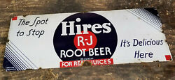 1920s Hires R J Root Beer Porcelain Enamel Sign Rare The Spot To Stop Rare