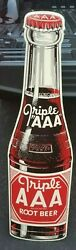 Large Vintage Triple Aaa Root Beer Bottle Sign Stout
