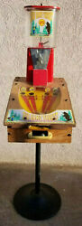 Vintage Bear Hunting Game Trade Stimulator Interactive Gumball Machine And Stand