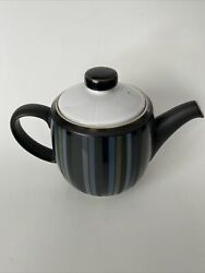 Denby Langley Jet Stripes Teapot With Lid 5 Cups England Euc