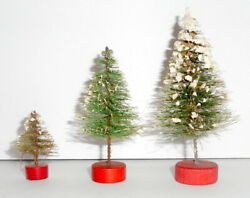 Vintage Christmas Putz Bottle Brush Trees Red Wood Bases Japan 1.75 To 4 Inches
