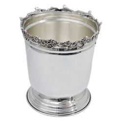 Solid Silver Ice Bucket With Grapes Edge