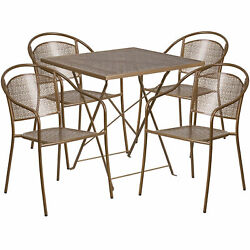 28in Square Metal Folding Patio Table Set With 4 Round Back Chairs Gold