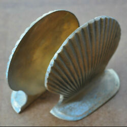Sea Shell Bookends Vacation Beach House Home Decor Vintage Solid Brass