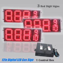 3pcs/pack Red 88889 12in Digital Price Gasoline Led Signs - Rf Remote Control
