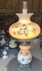 """Vintage Floral Hand Painted Hurricane Gwtw Glass Lamp Shade 27""""large"""
