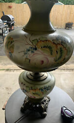 """Vintage Floral Hand Painted Hurricane Gwtw Glass Lamp Shade 26"""" Large"""
